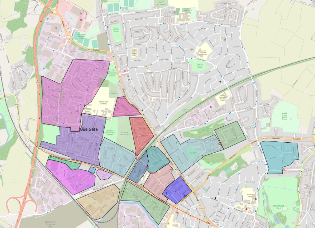 Map showing my proposed cells in the area around Bramford Road and Norwich Road.