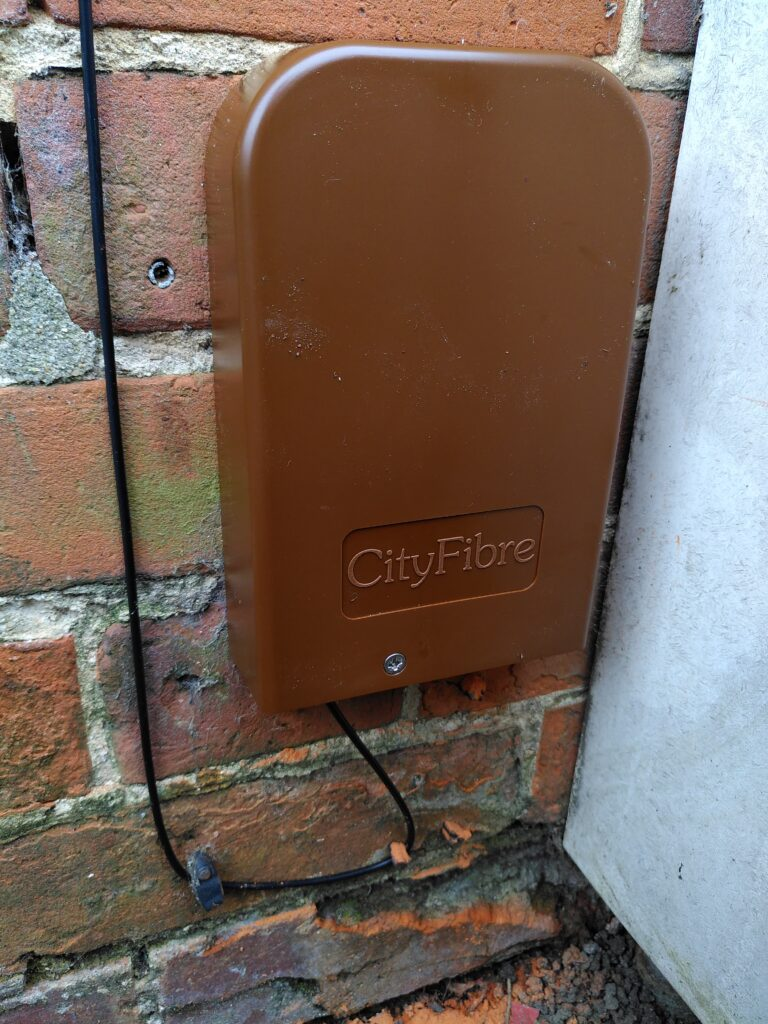 Junction box on the outside wall.